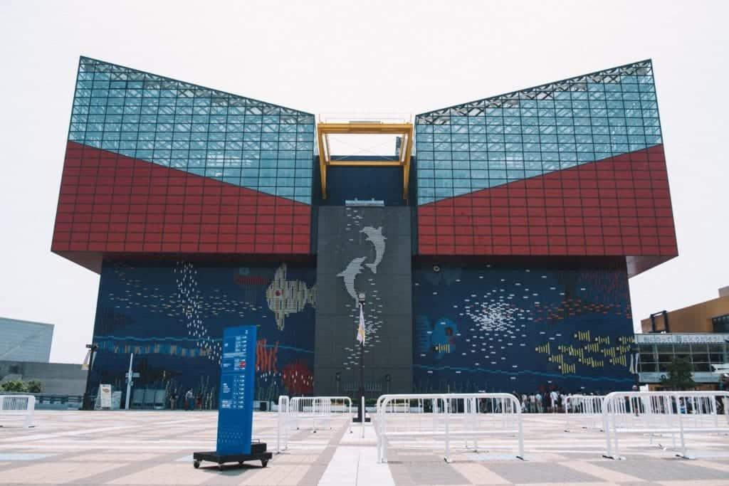 Osaka Aquarium at daytime. Big building.