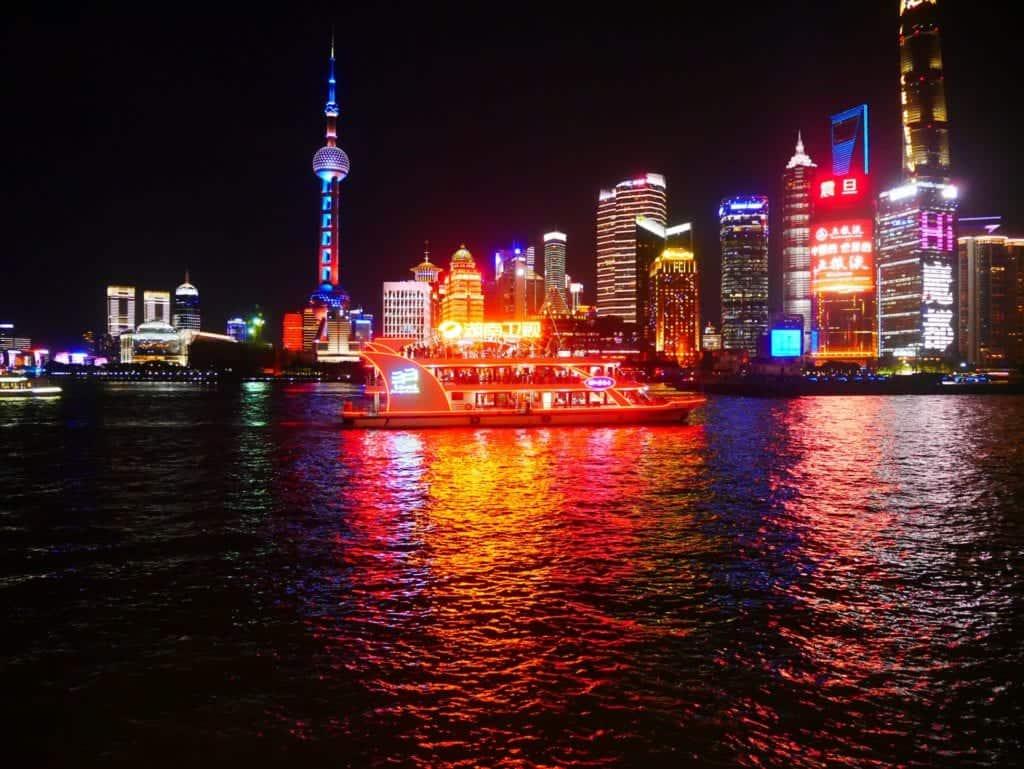 Huangpu river boat at night.