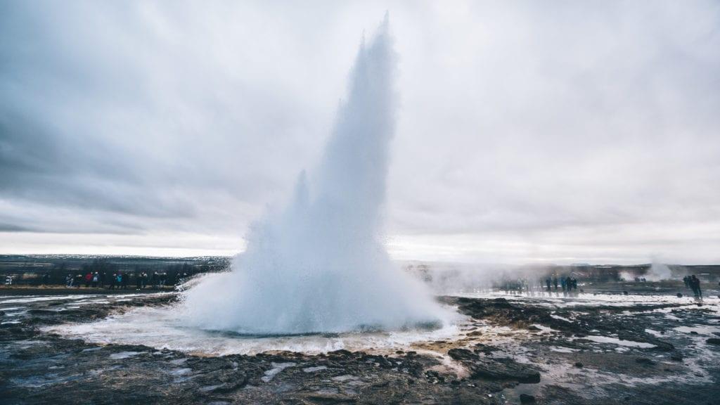 Strokkur selfoss geyser on island.