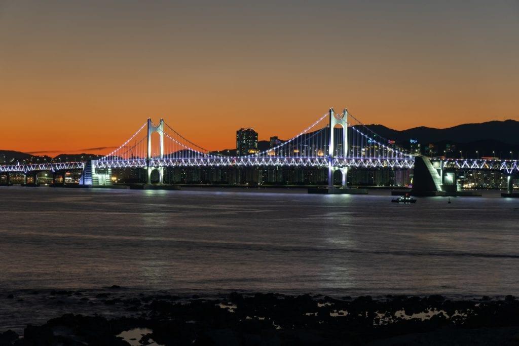 Busan at night bridge