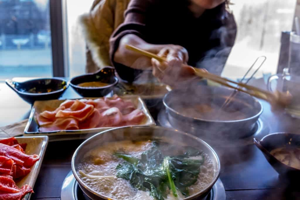 hot pot eating in china.