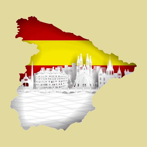 En karta över hela spanien.