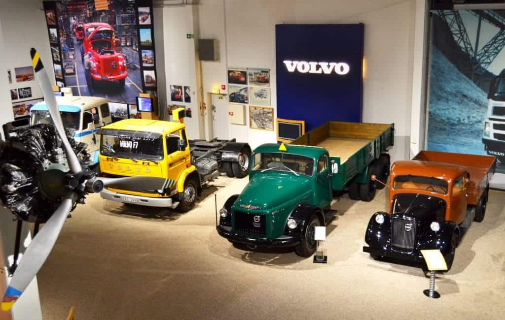 Old trucks on display in diffrent colors at the official Volvo Mueum in Gothenburg.