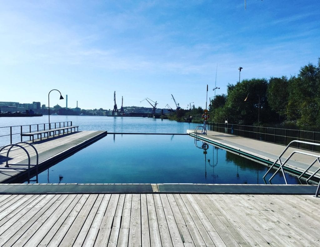 Going for a swim at Jubileumsparken in gothenburg during the summer.