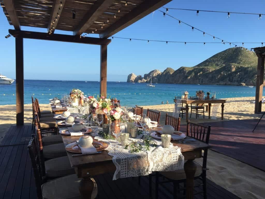 Beach and restaurant in Cabo San Lucas.