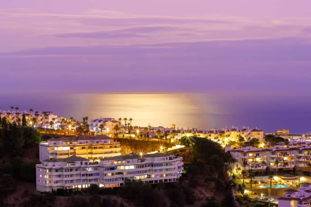 Aerial view of Marbella at night.