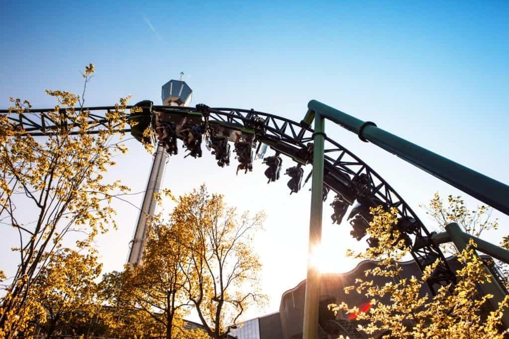 People visit Lisberg, the local amusement park in Göteborg.