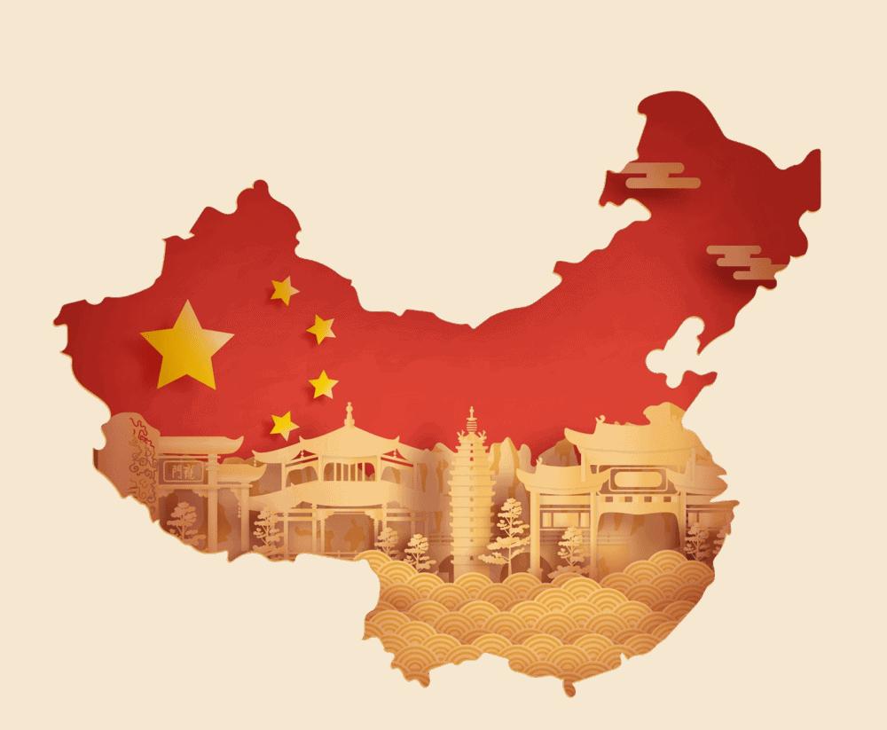 En karta över hela kina.