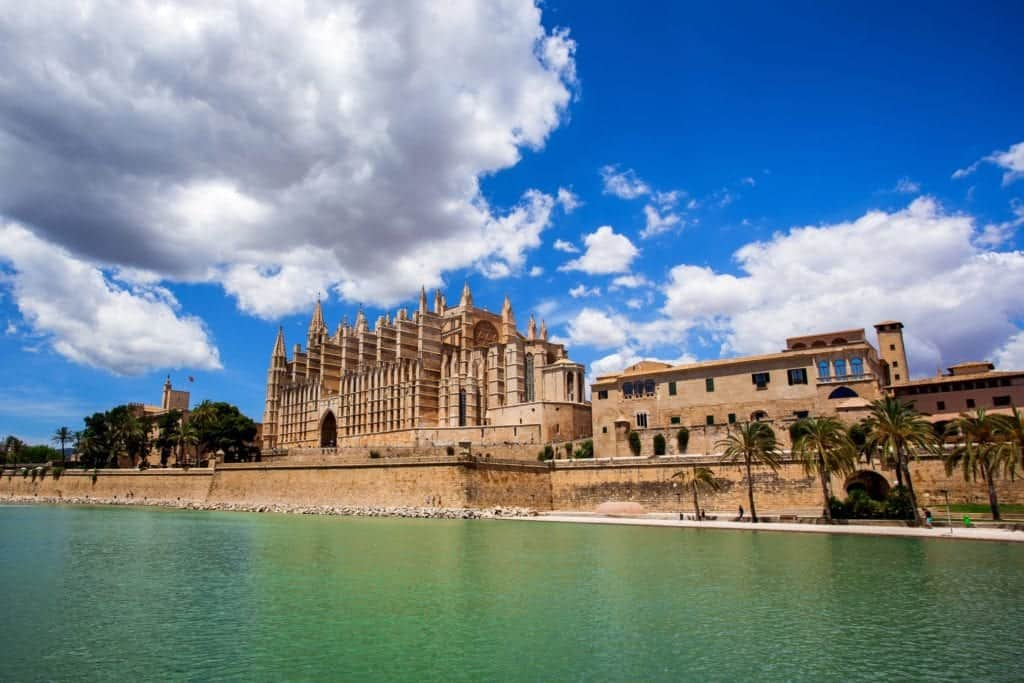 Cathedral at palma de mallorca in spain.
