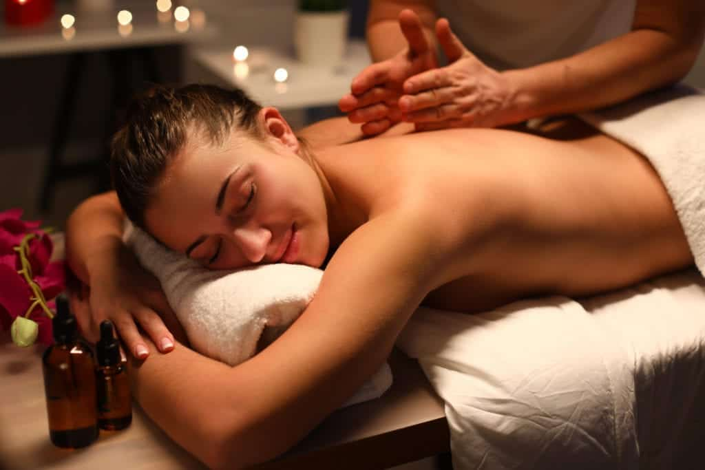 Giving a massage at the Arken Garden Spa in gothenburg, sweden.