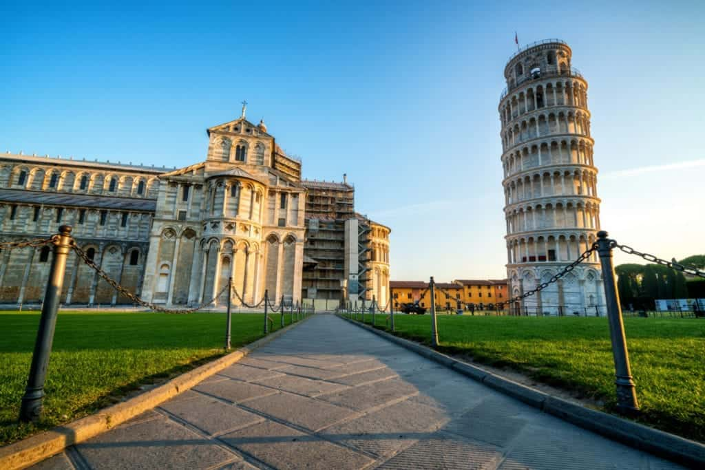 Picture taken from below of the leaning tower of pisa.