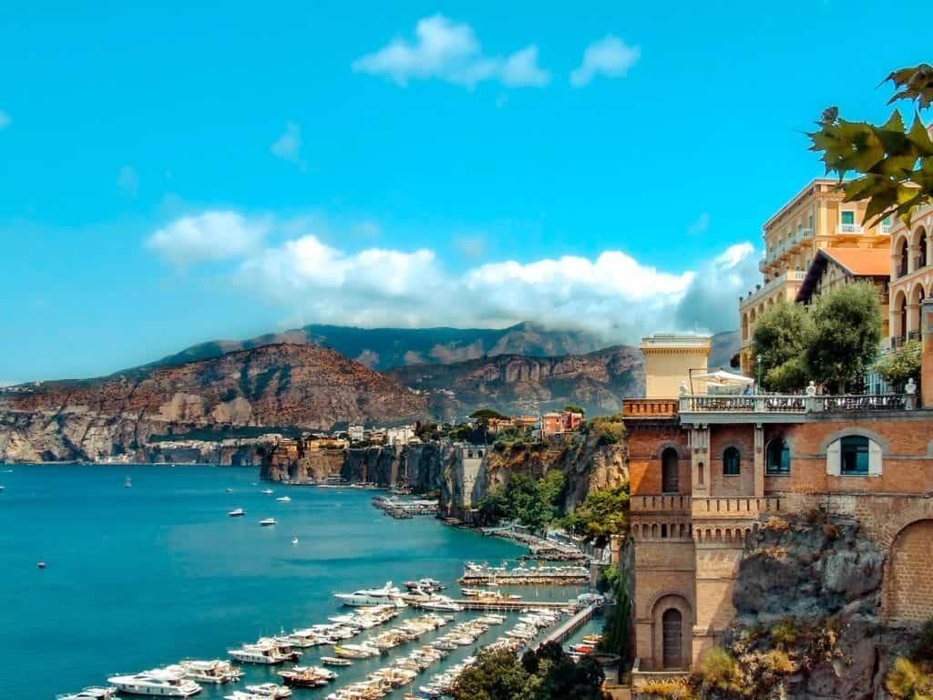 Aerial view over beautiful Marina Piccola, Capri, Italy.