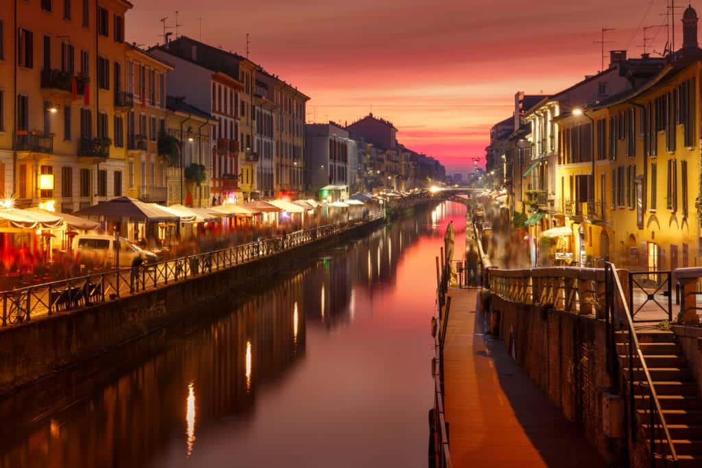 Bridge across the Naviglio Grande canal at sunset, Milan, Lombardia, Italy