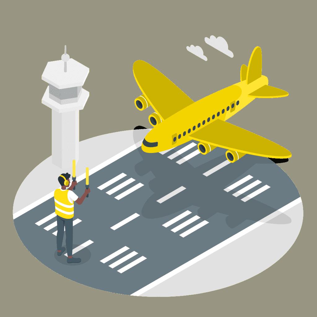 Ett flygplan landar på en flygplats.