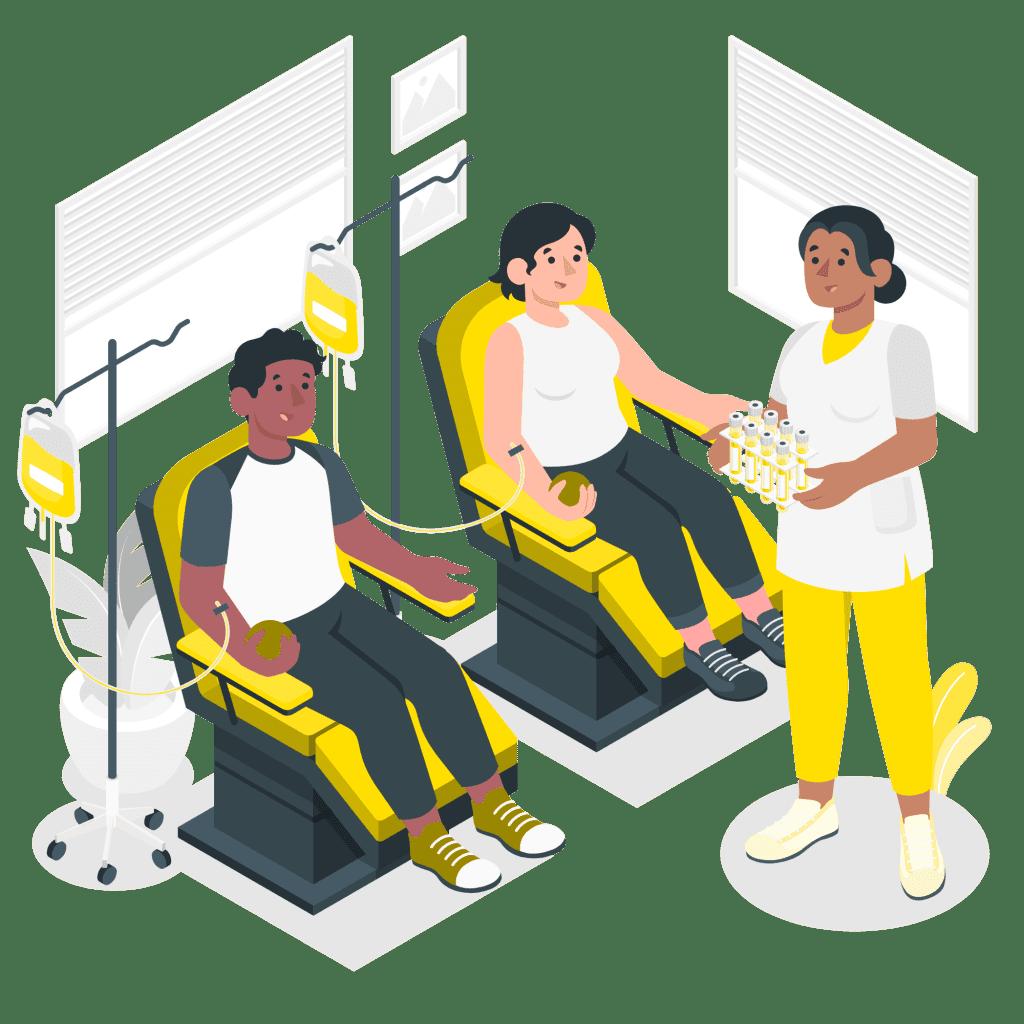Två patienter får sin medicin på ett sjukhus.