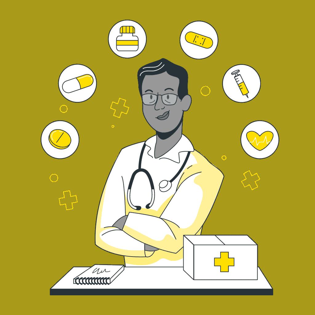 En doktor visar olika hälsotips.