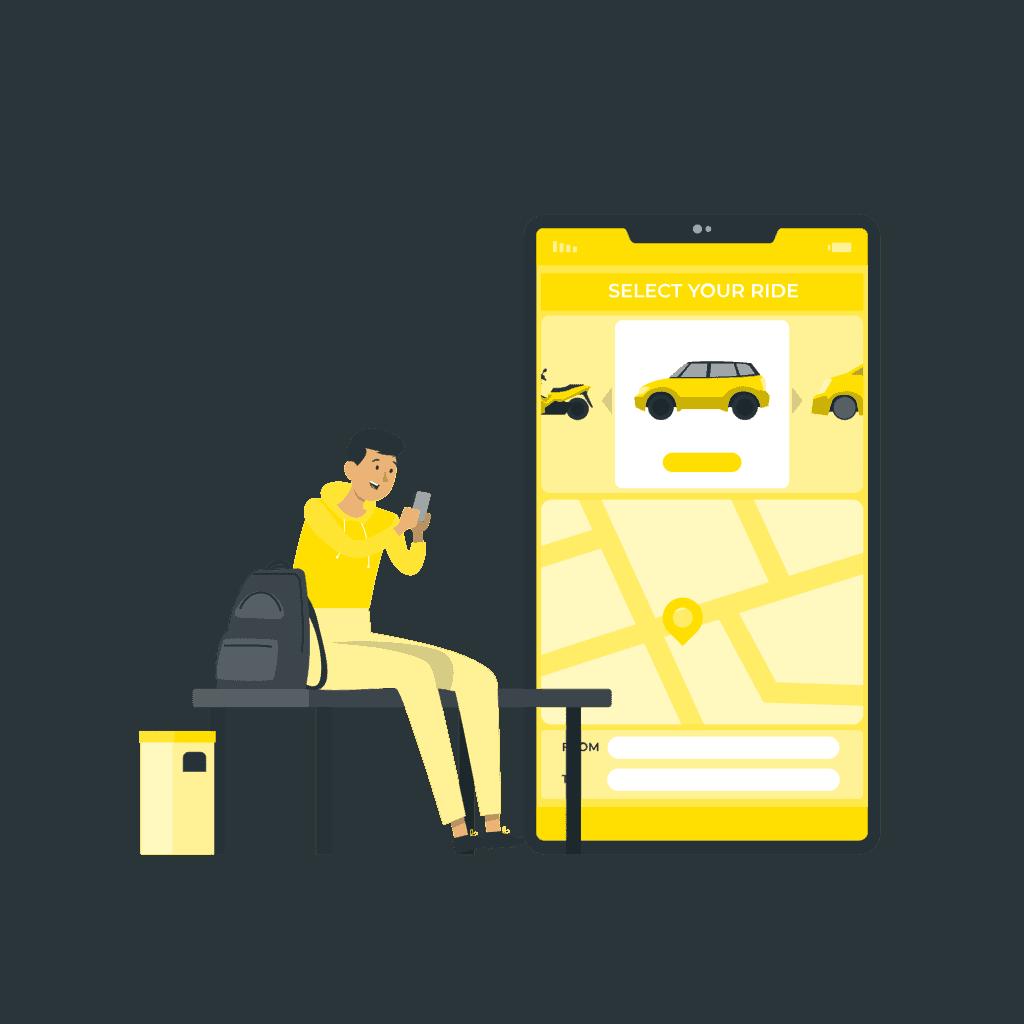 En man sitter och bokar en taxi på en bänk.