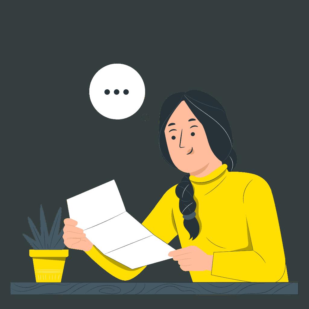 En kvinna läser ett papper med information.